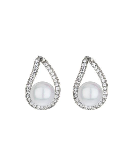Mikey | Metallic Loop Crystal Pearl Drop Earring | Lyst