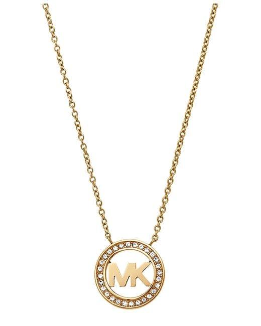 Michael Kors   Metallic Mkj4732710 Ladies Logo Pendant Necklace   Lyst