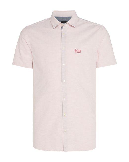 193b8fbe BOSS - Pink Men's Cattitude Short Sleeve Logo Oxford Shirt for Men - Lyst