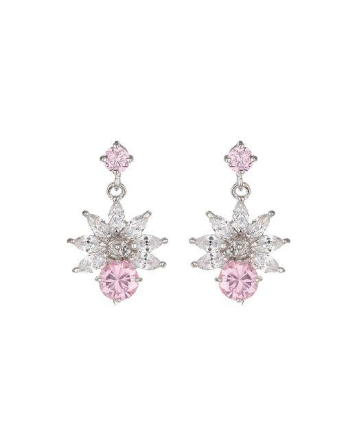 Mikey | Pink Cubic Drop Flower Stud Earring | Lyst