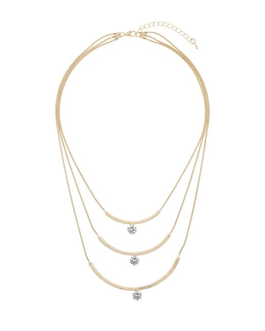 Mikey | Metallic Curved Pendant Crystal Stone Necklace | Lyst