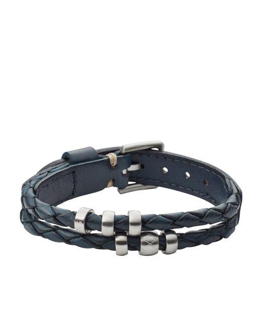 fossil jf02346040 mens leather bracelet in black for
