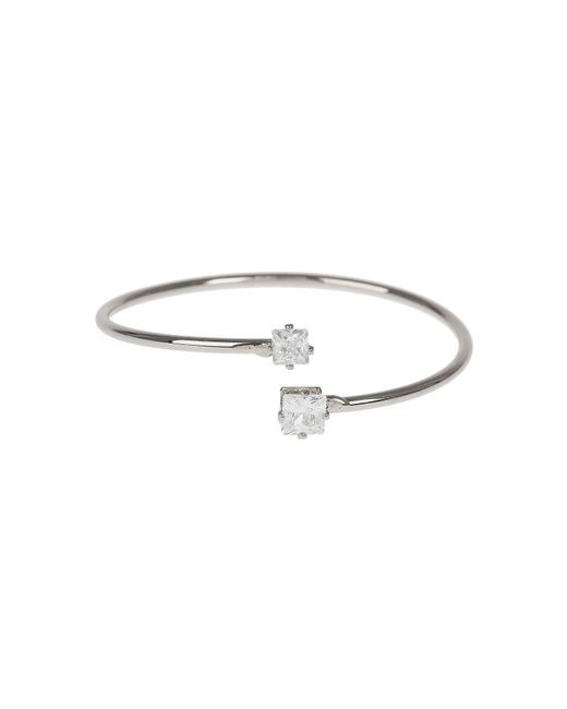 Mikey | Metallic Crystal Heart Cap End Wire Cuff | Lyst