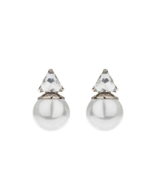 Mikey | Multicolor Pearl Crystal Triangle Drop Earring | Lyst