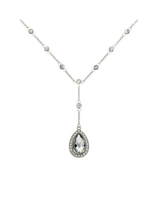 Monet | Metallic Teardrop Glass Crystal Y Pendant Necklace | Lyst