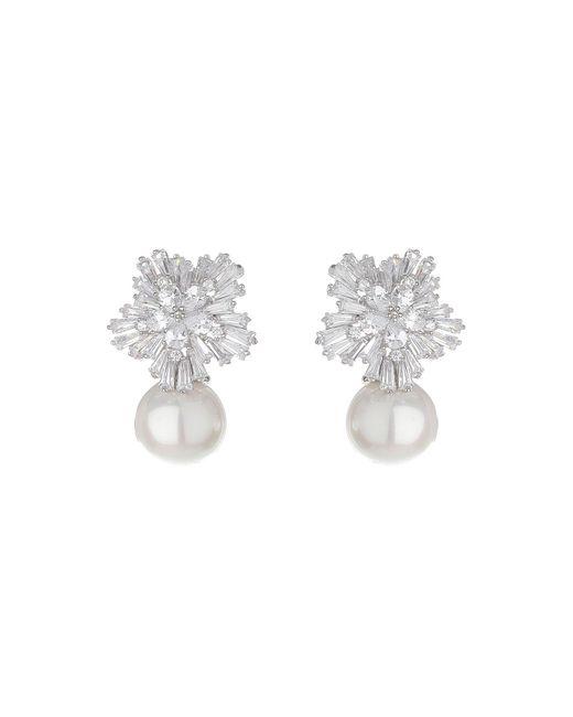 Mikey | Metallic Baugette Flower Pearl Drop Earring | Lyst