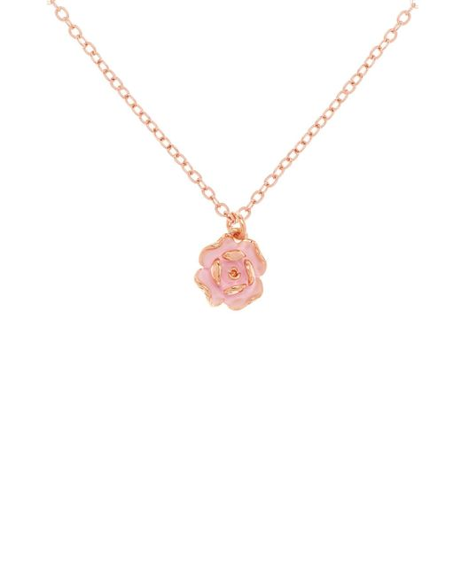 Ted Baker | Elliana Pink Enamel Rose Pendant | Lyst
