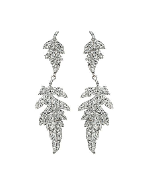 Mikey - White Twin Crystal Leaf Drop Dangling Earring - Lyst