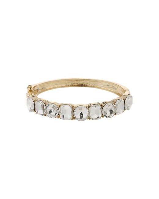 Mikey | Metallic Round Square Crystals Link Bracelet | Lyst