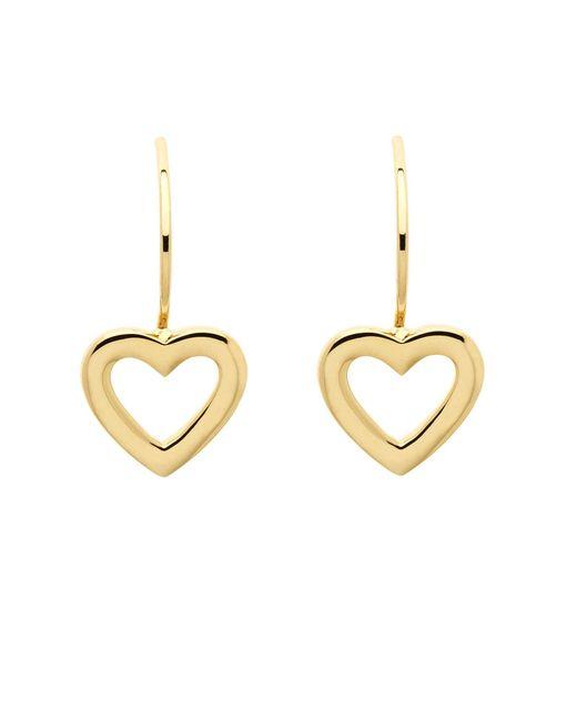 Melissa Odabash   Metallic Gold Plated Hook Heart Drop Earrings   Lyst