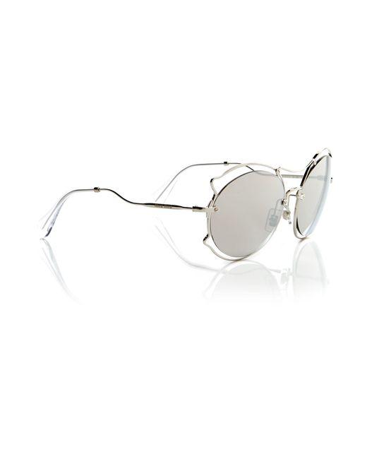Miu Miu | Metallic Silver Irregular Mu 50ss Sunglasses | Lyst