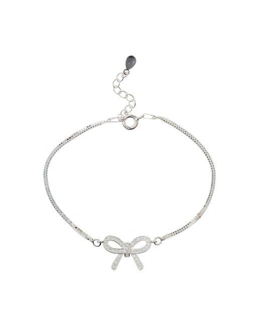 Mikey | Metallic Silver 925 Bow Design Tennis Bracelet | Lyst