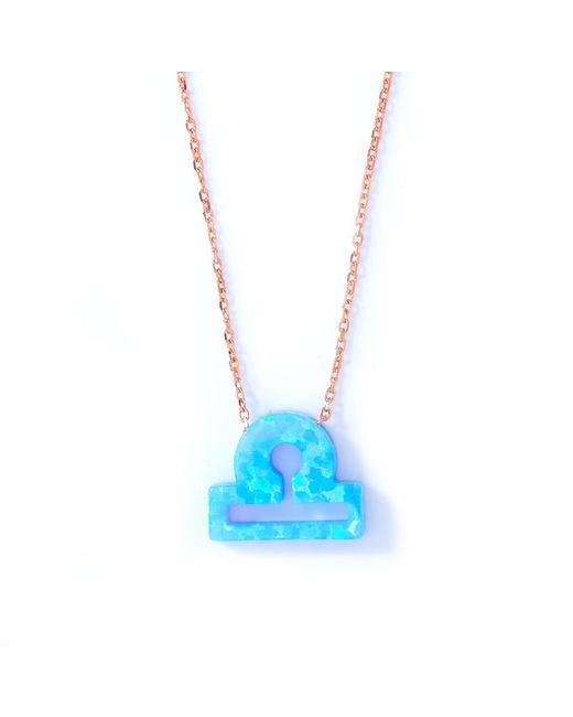 Lucky Eyes | Libra Blue Opal Zodiac Necklace | Lyst
