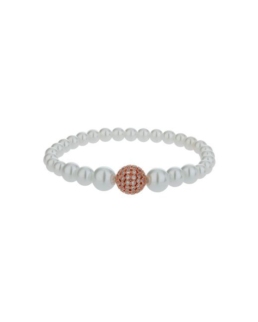 Mikey - Metallic Fine Cubic 12mm Ball Pearl Bracelet - Lyst