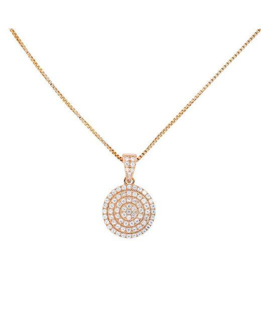 Azendi - Metallic 18ct Rose Gold Vermeil Pavé Circle Pendant - Lyst