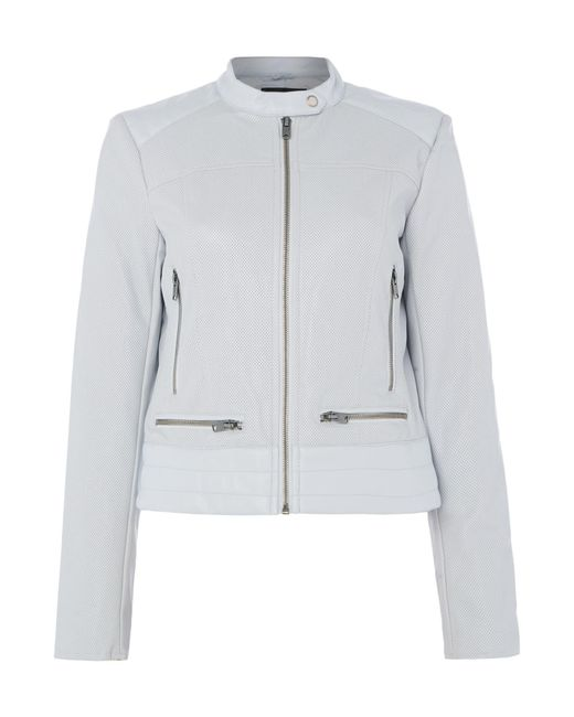 Andrew Marc | Blue Pu Central Zip Jacket | Lyst