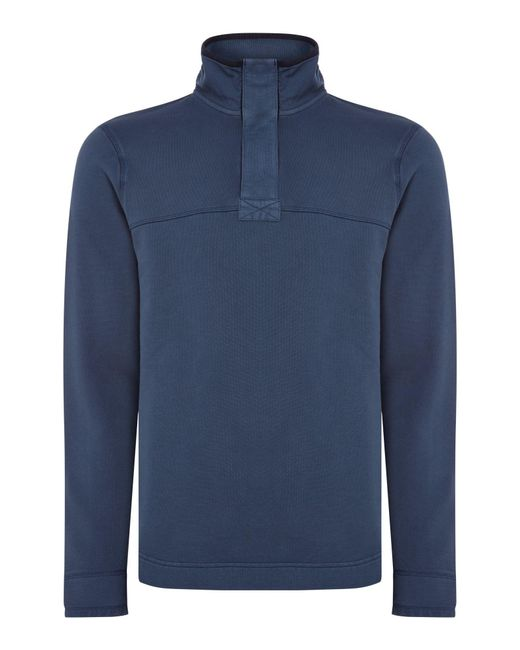 Howick - Blue Mullen Pique Plain Zip Up Funnel Neck for Men - Lyst