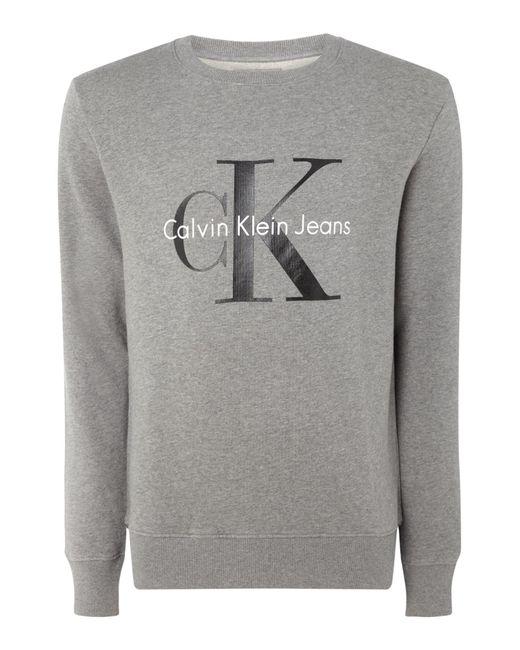 Calvin Klein   Gray Crew Neck Sweater for Men   Lyst