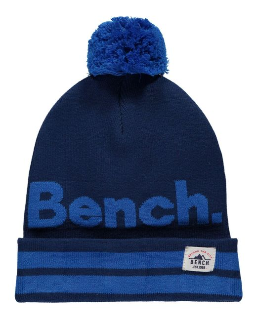 Bench | Blue Turn Up Bobble Beanie for Men | Lyst