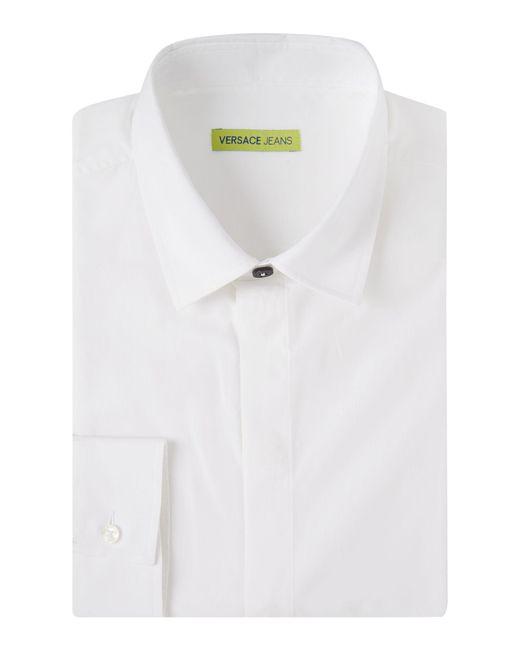 Versace Jeans | White Regular Fit Tonal Print Shirt for Men | Lyst