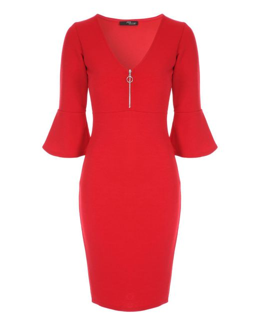 Jane Norman - Red Flute Sleeve Bodycon Dress - Lyst