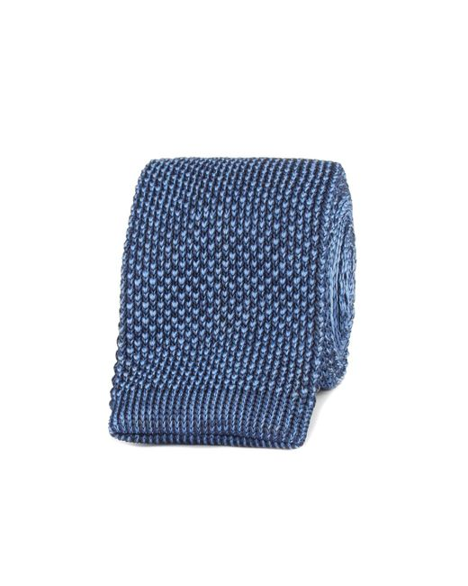 Gibson - Navy And Blue Textured Knitted Tie for Men - Lyst