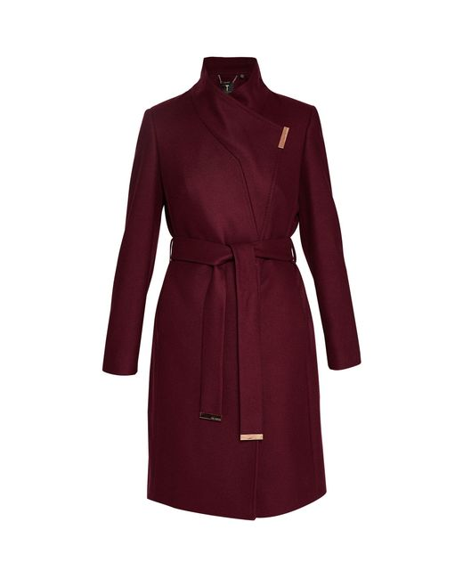 Ted Baker | Red Kikiie Cashmere-blend Wrap Front Coat | Lyst