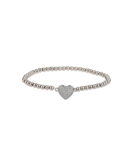 Mikey - Metallic Fine Cubic Heart Elastic Bracelet - Lyst