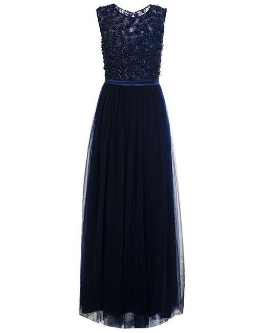 Quiz | Blue Navy Tulle Flower Maxi Dress | Lyst