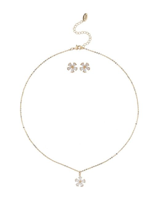 Mikey - White Flower Cubic Necklace Earring Set - Lyst