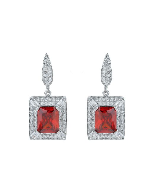 Mikey | Red Cubic Square Centre Drop Earring | Lyst