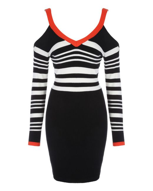 Jane Norman | Black Monochrome & Red Buckle Shoulder Dress | Lyst