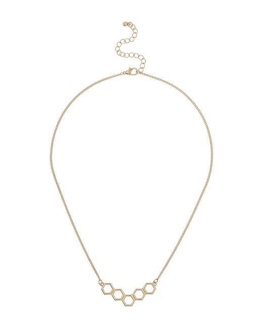 Mikey | Metallic Diamond Design Link Necklace | Lyst