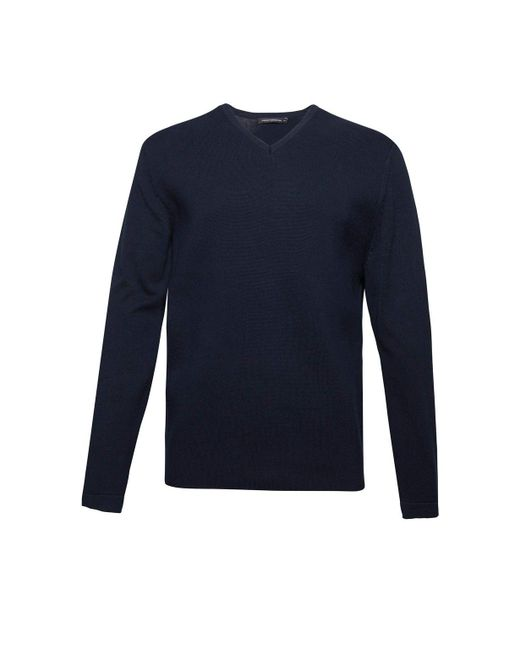 French Connection | Blue Men's Milano Front Cotton V Neck Jumper for Men | Lyst