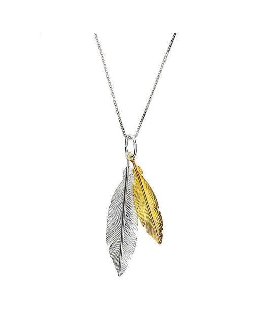 Azendi | Metallic Gold Vermeil Twin Feather Pendant | Lyst