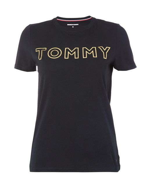 Tommy Hilfiger | Black Ts Gold Logo Tee | Lyst