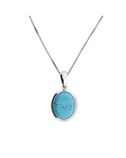 Azendi - Blue Silver Turquoise Oval Pendant - Lyst