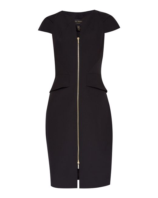Ted Baker   Black Fearnid Zip Front Pencil Dress   Lyst