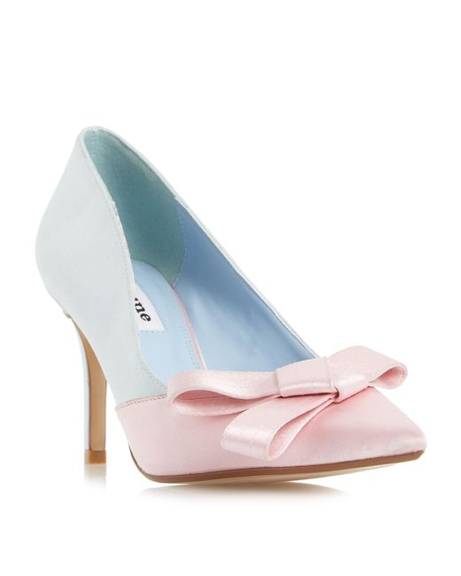 Dune | Blue Bowiee Satin Bow Court Shoes | Lyst