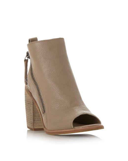 Dolce Vita | Brown Port Zip Detail Peep Toe Sandals | Lyst