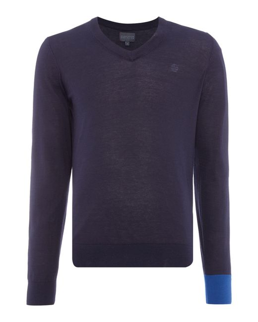 Perry Ellis - Blue College V Neck Contrast Cuff Jumper for Men - Lyst