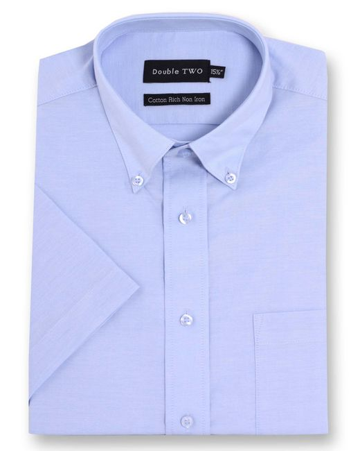 Double Two - Blue Half Sleeve Oxford Formal Shirt for Men - Lyst