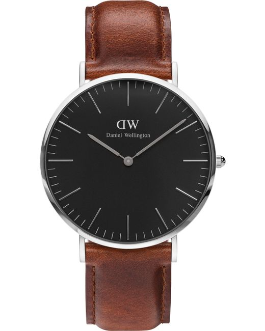Daniel Wellington | Brown Classic Blk St Mawes 40 Silver Watch | Lyst
