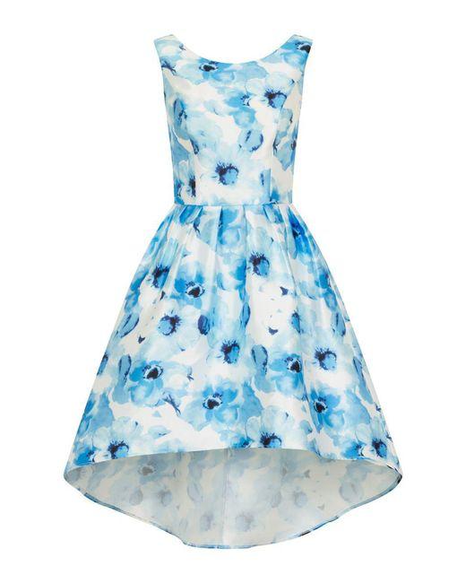 Chi Chi London   Blue Digital Floral Print Dip Hem Dress   Lyst
