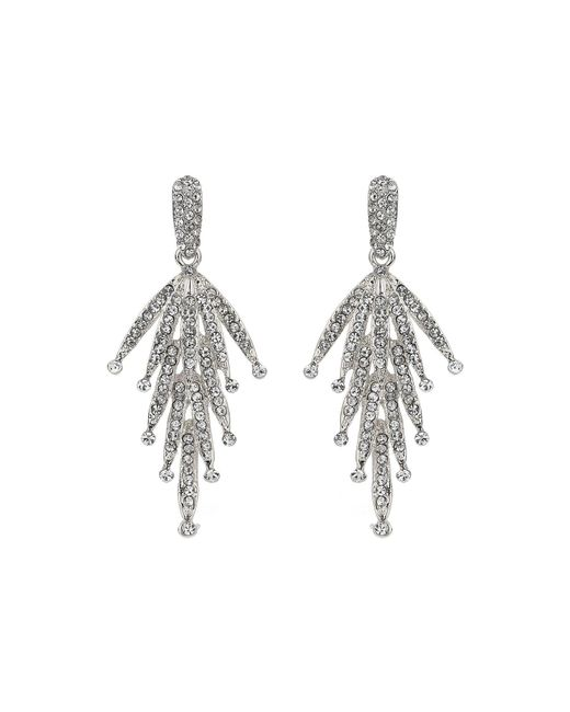 Mikey - White Crystal Drop Leaf Earring - Lyst