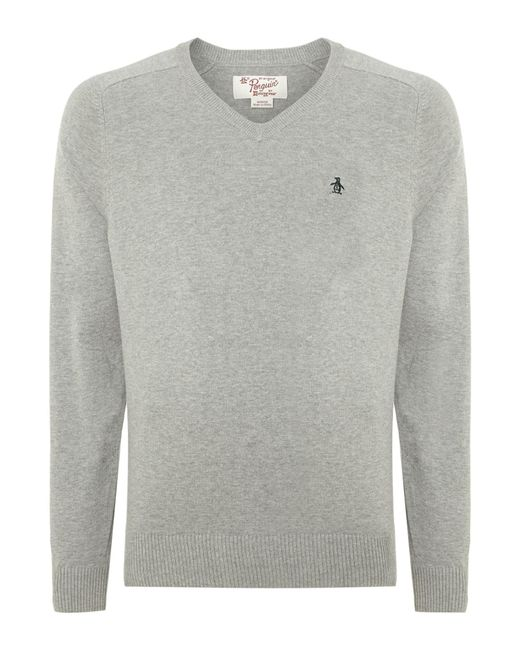 Original Penguin | Gray Camford V Neck Jumper for Men | Lyst