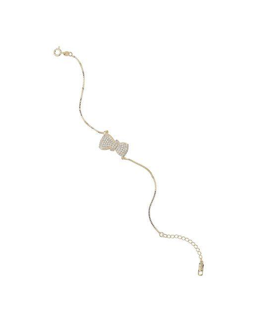 Mikey - Metallic Bow Design Embed Cubic Tennis Bracelet - Lyst
