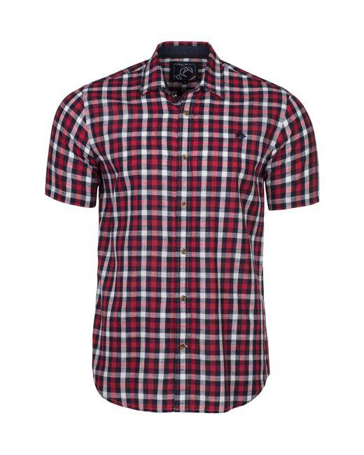 Raging Bull | Red Short Sleeve Linen Look Check Shirt for Men | Lyst