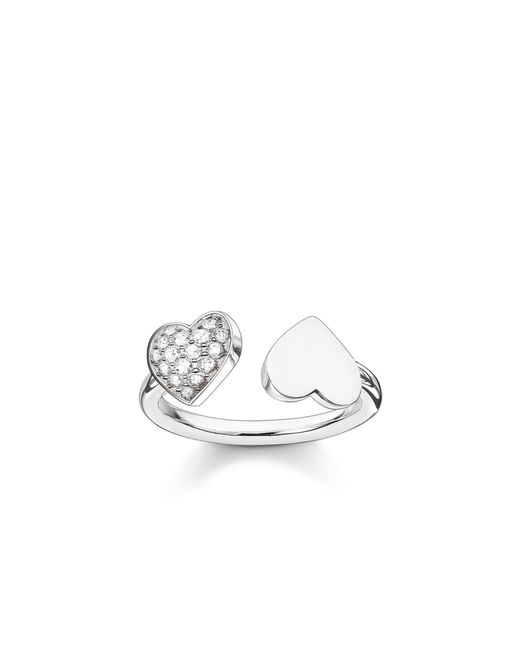 Thomas Sabo - Metallic Classic Silver Open Double Heart Ring - Lyst