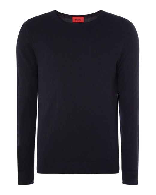 HUGO - Blue Men's San Lorenzo Crew Neck Jumper for Men - Lyst